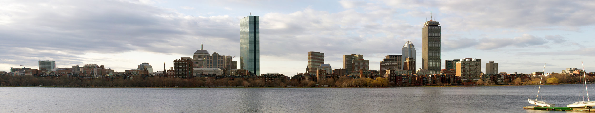 A panorama of the cityscape from the opposite side of the Charles River.