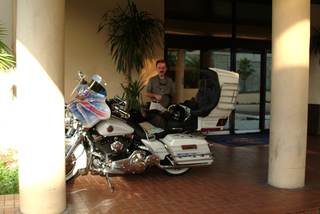 Let us park the bikes in the Hotel foyer for safety.