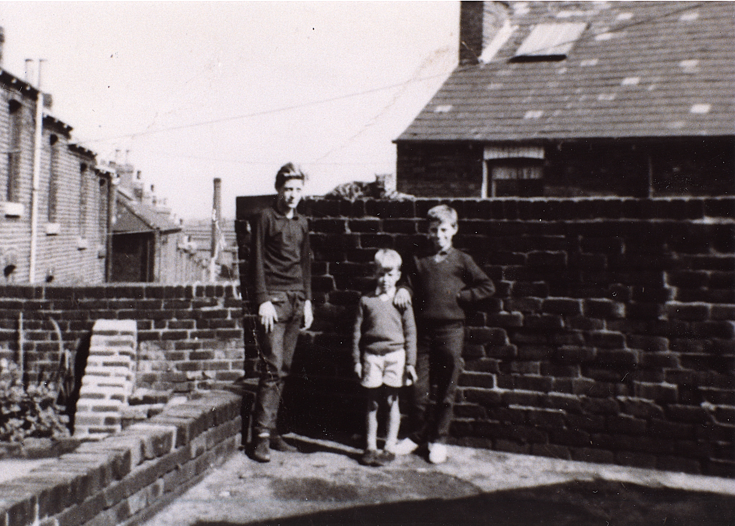 Our backyard in Sheffield— This was at 54 Lyons St, Pitsmoor, S4—about 50 years ago.
