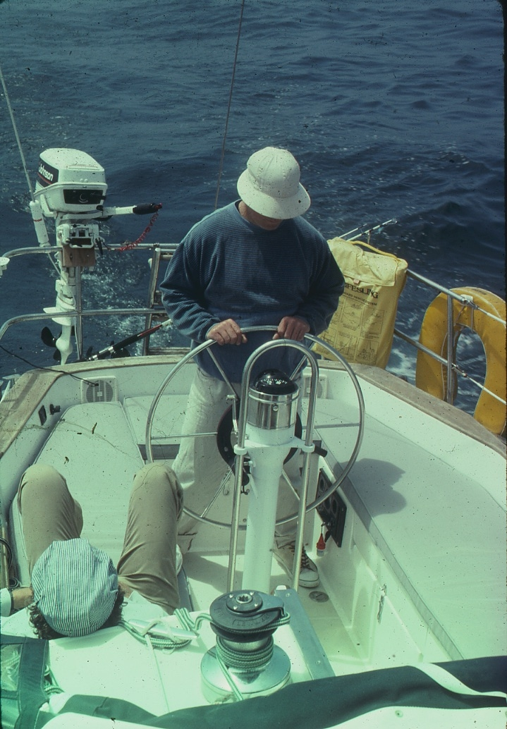 This guy is Ron who is a hard core sailor. We went through 40 ft swells in gale force 9 and he was awesome. We all got sick. Back of his head to us is Rich another great sailor.