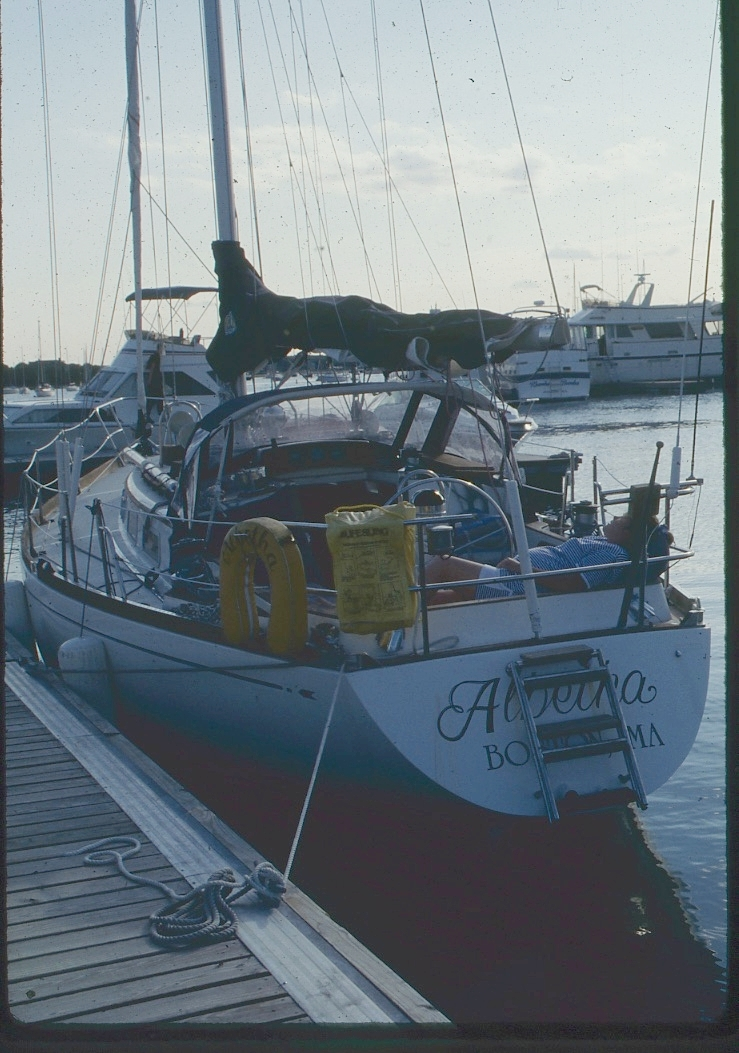 This pic shows more of what a great solid boat the Bristol 38.8 is. Beamy but not slow, lots of room below and lots of sail. There is pregnant Beth snoozing at the stern.
