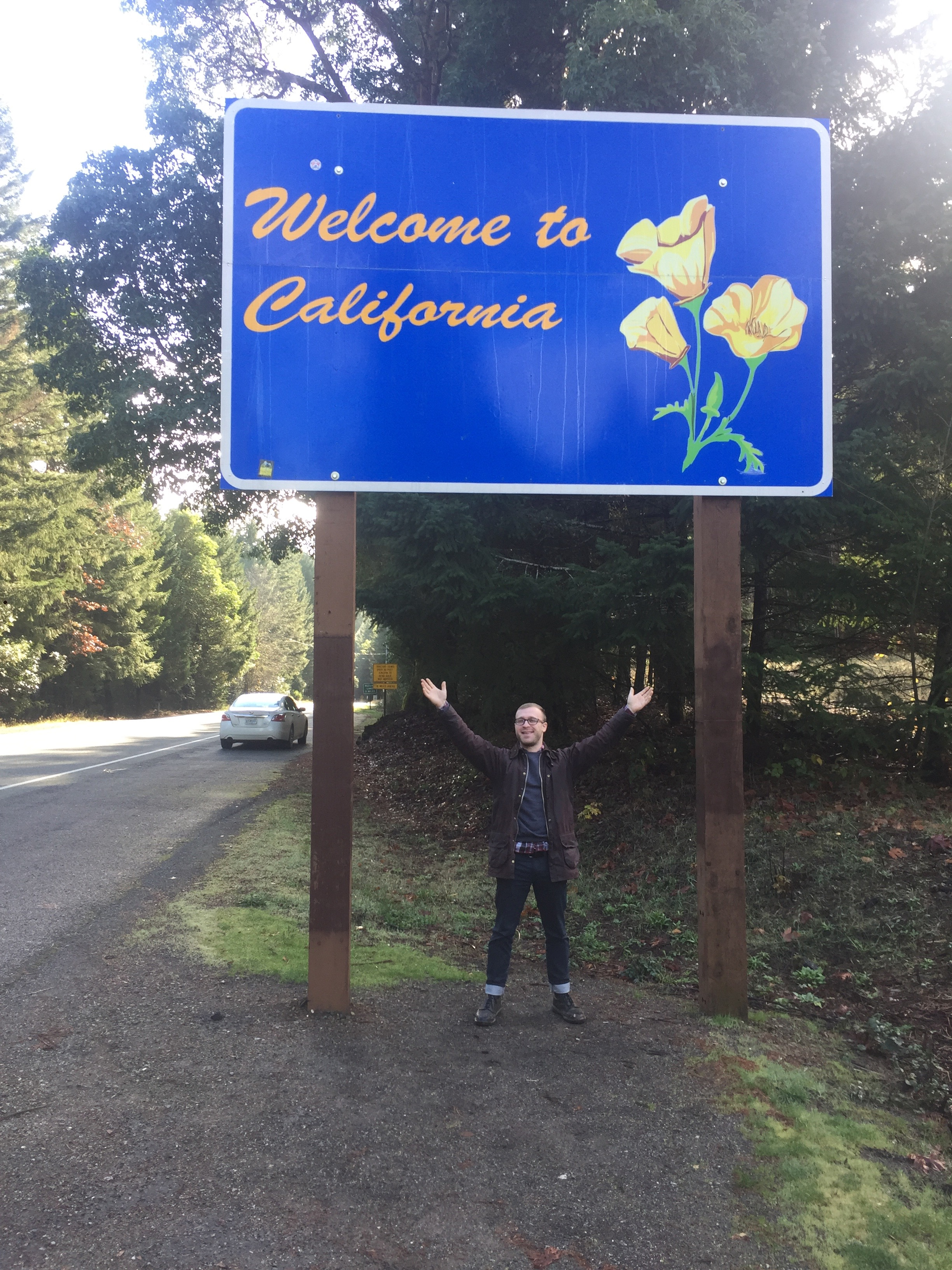 Tristan's first visit to California. We were on our way to see the Giant Redwoods. If you drive south on Rt 199 from Selma,Oregon, you will quickly be in California and Crescent City. Stay on course and you will arrive at The Trees of Mystery. Giant Redwoods at their best. There is a gondola ride which we chose not to do as it was pissing down the whole time.