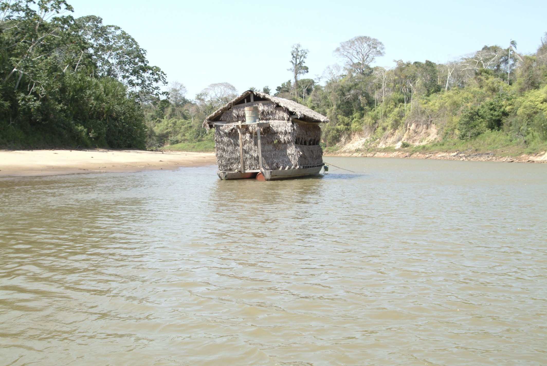 This is the floating hideout where you go to at 4am to wait for the arrival of the macaws and various other parrots that will eat the clay off the cliff called a macaw clay lick! Or at least thats what we were told when we were there!