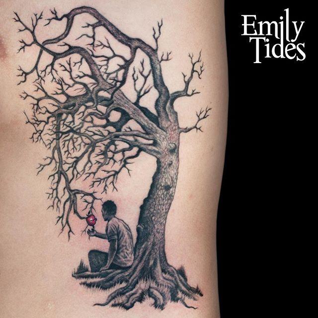 "Throwback to my ""Giving Tree"" piece. . . . . #emilytides #treetattoo #tattoo #greywashtattoo #greywash #blackandgreytattoo #apple #appletattoo #givingtree #emilytidesart #tattooartist #femaletattooartist"