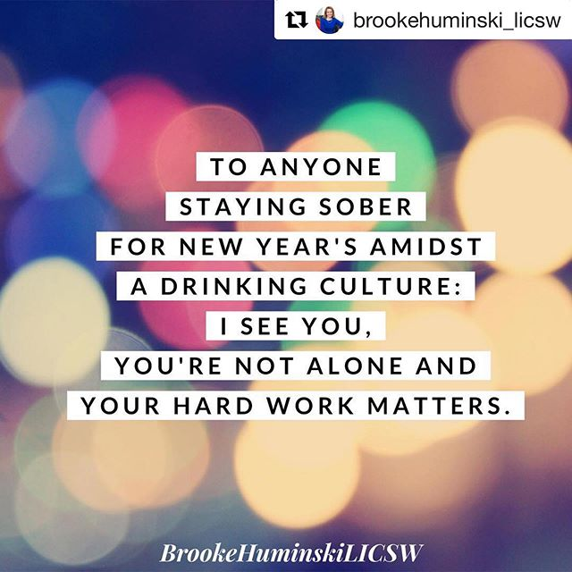 I'm right there with you, btw! 🙌 #Repost @brookehuminski_licsw ・・・ It's not uncommon for those who cope with eating disorders to also struggle with alcohol abuse. It's not often talked about in the field but switching to using alcohol to cope can especially come up in early recovery from an ED. New Year's can present quite the challenge for folks trying to stay sober. Remember to use those skills and reach out to supports.  #onedayatatime #recovery #cooccurringdisorders #newyears #alcoholabuse #nye #sobernye #youvegotthis #sobriety