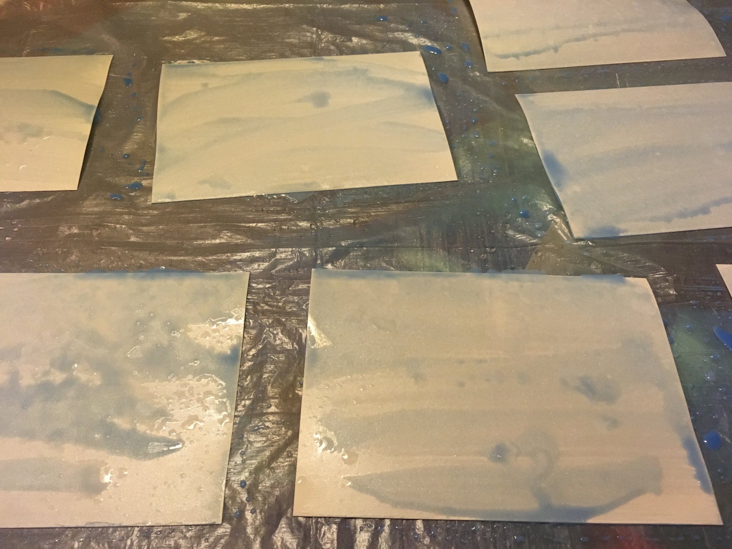 When I paint these water-inspired abstract works on paper, I approach much like I do my water glass… I make a LOT of parts.