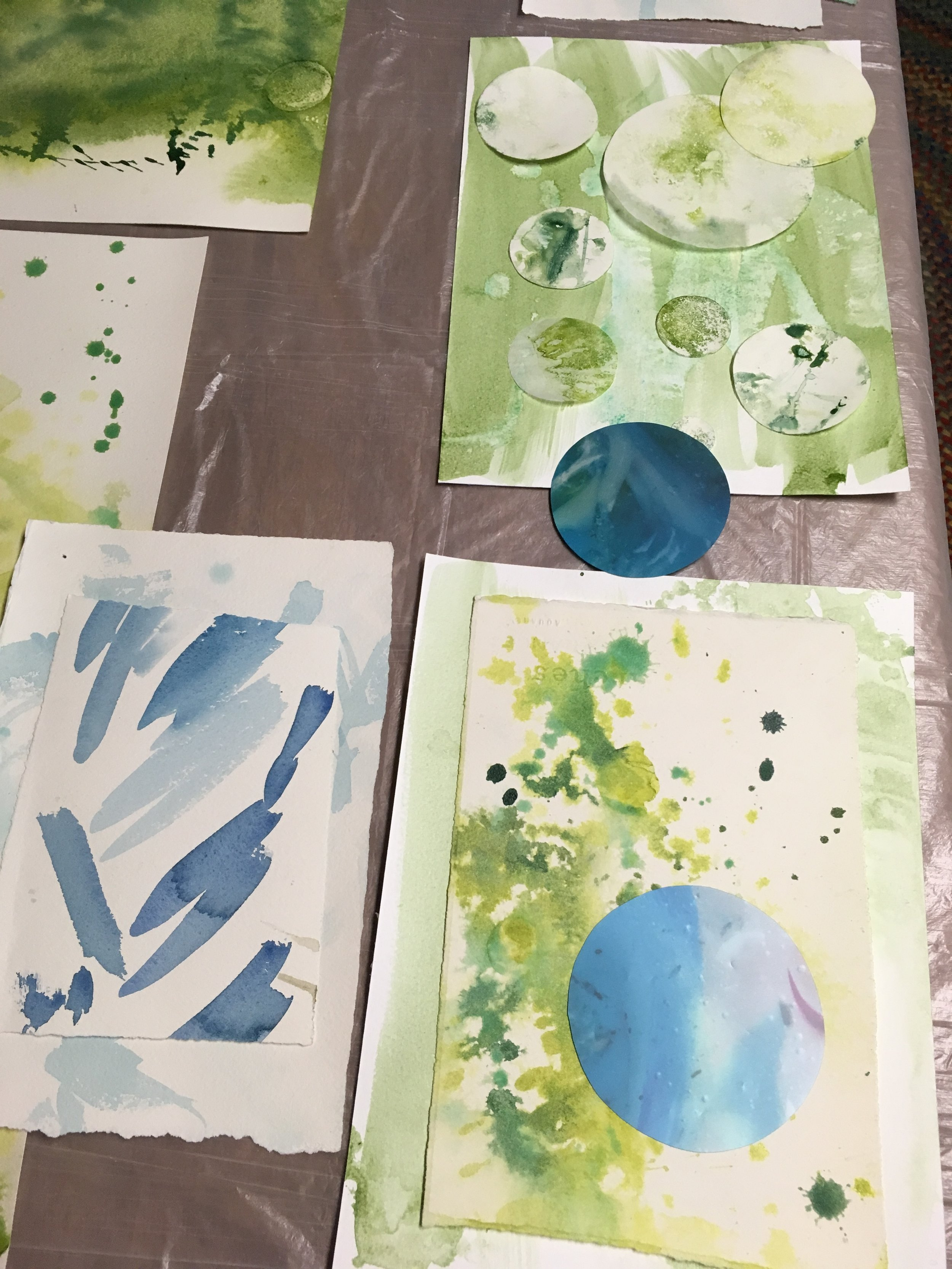 Studio pic while I was at The Hambidge Center — showing a lot of water-inspired painted water parts. (The blue circles are actually from vinyl.)