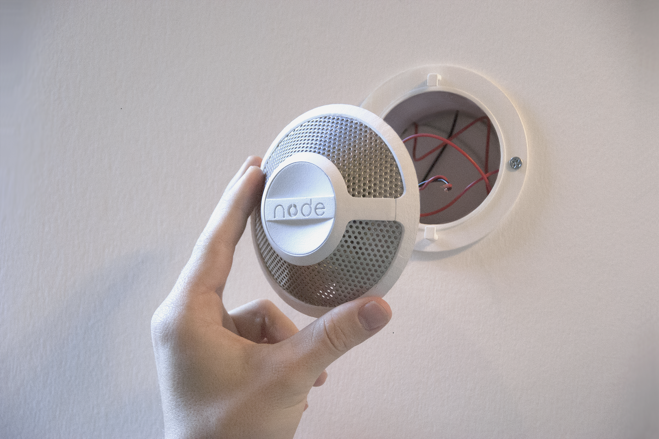 Battery or grid powered - Node can be mounted to the wall or ceiling. In accordance with safety code, Node can be adapted to either be battery powered or attached to your homes power supply.