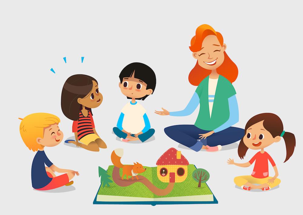 children teacher happy talking