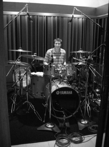 David recording at Capitol Records with the Disneyland All-American College Band, Los Angeles CA