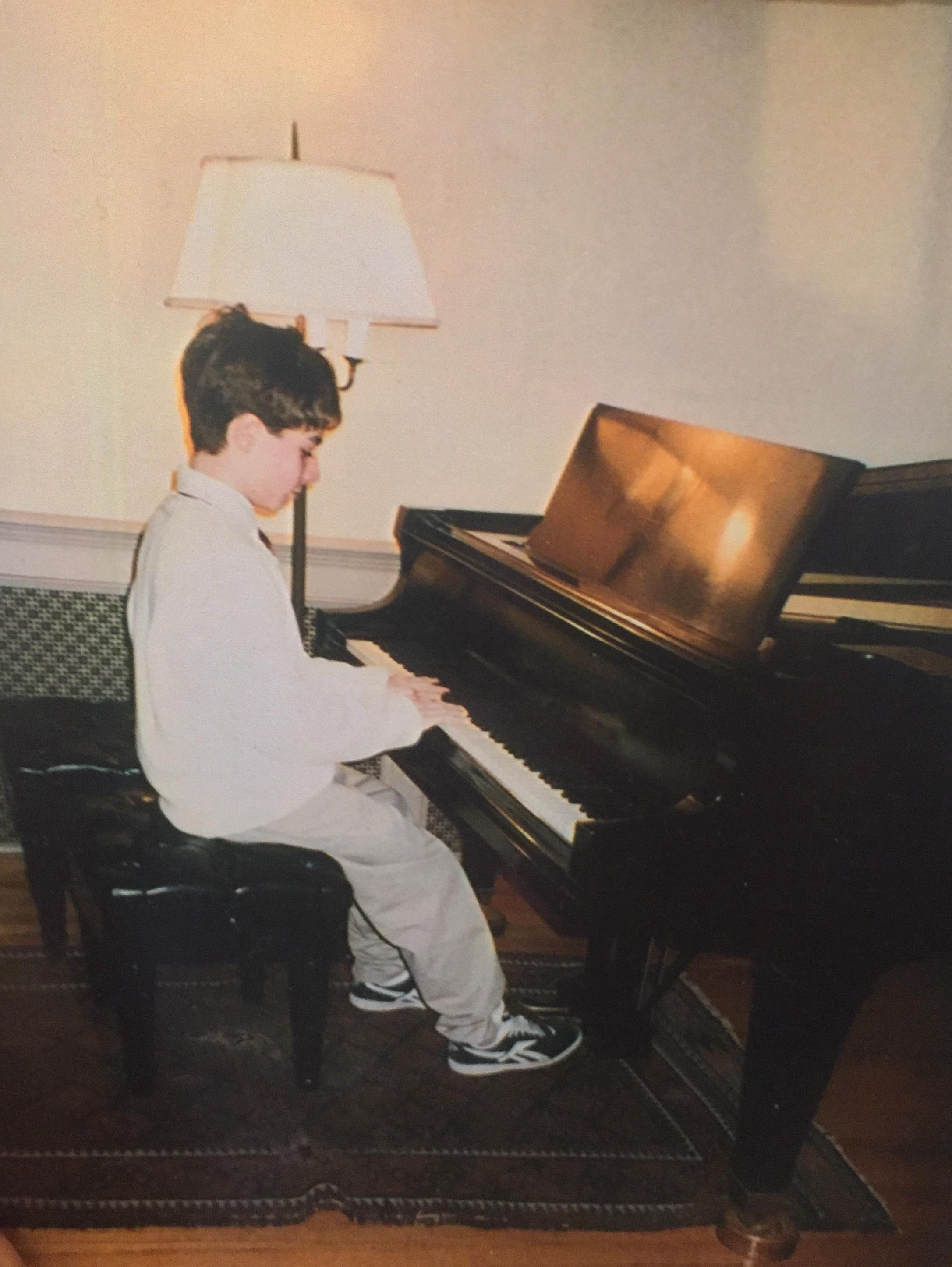 A slightly older version of me practicing before a Chopin Club performance...