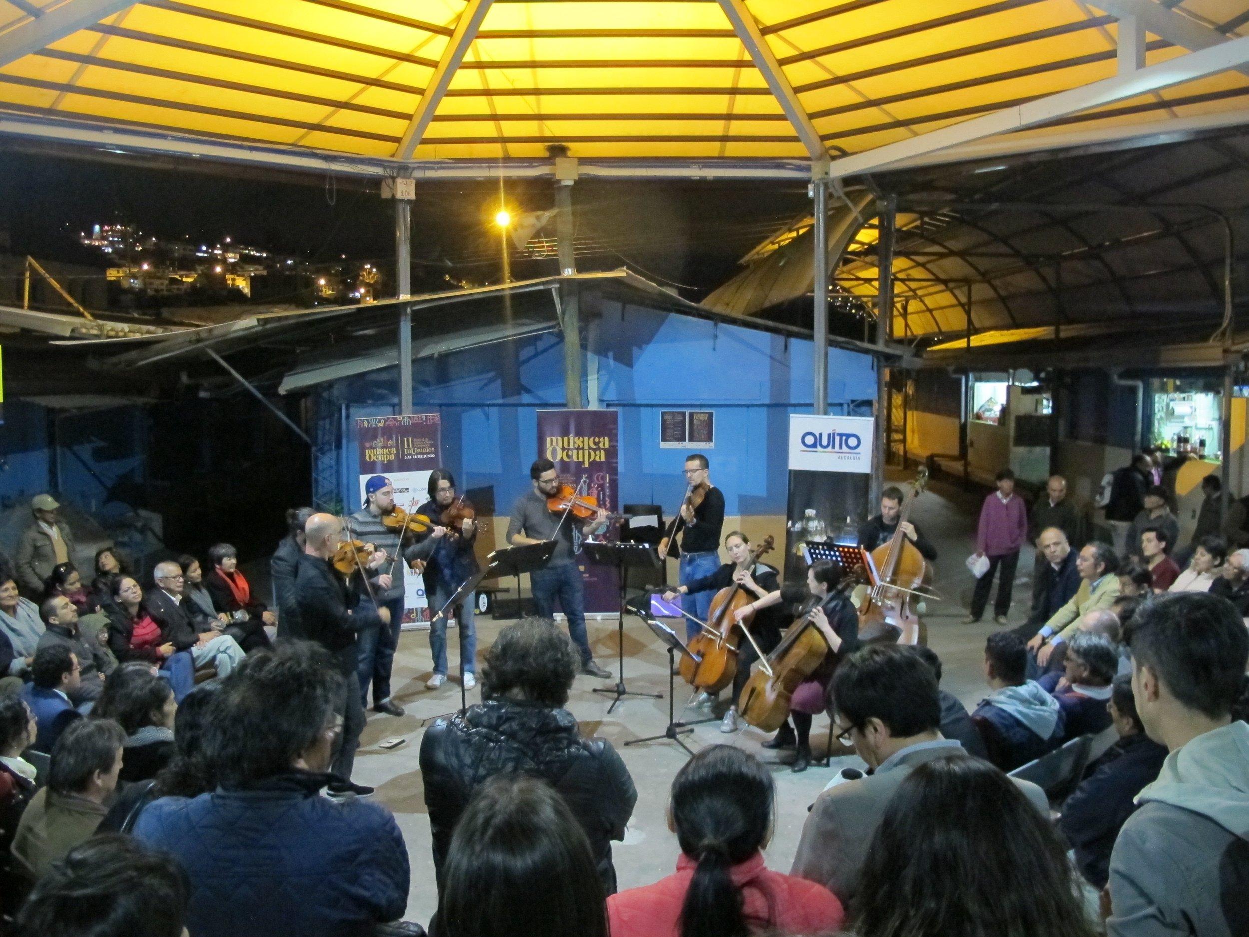 Plaza Arenas. Concierto de apertura Centro histórico de Quito. Junio 2018