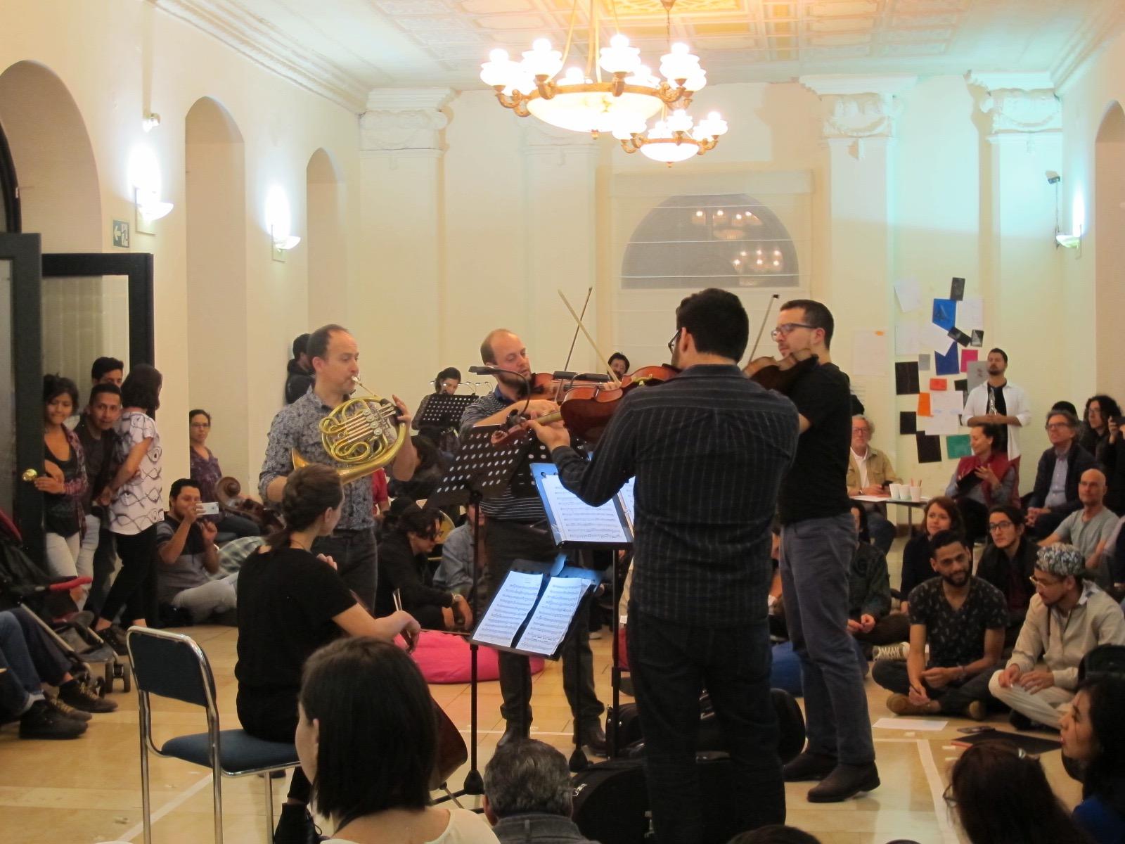 Concierto interactivo en el Centro Cultural Metropolitano. Centro histórico de Quito. Junio 2018.