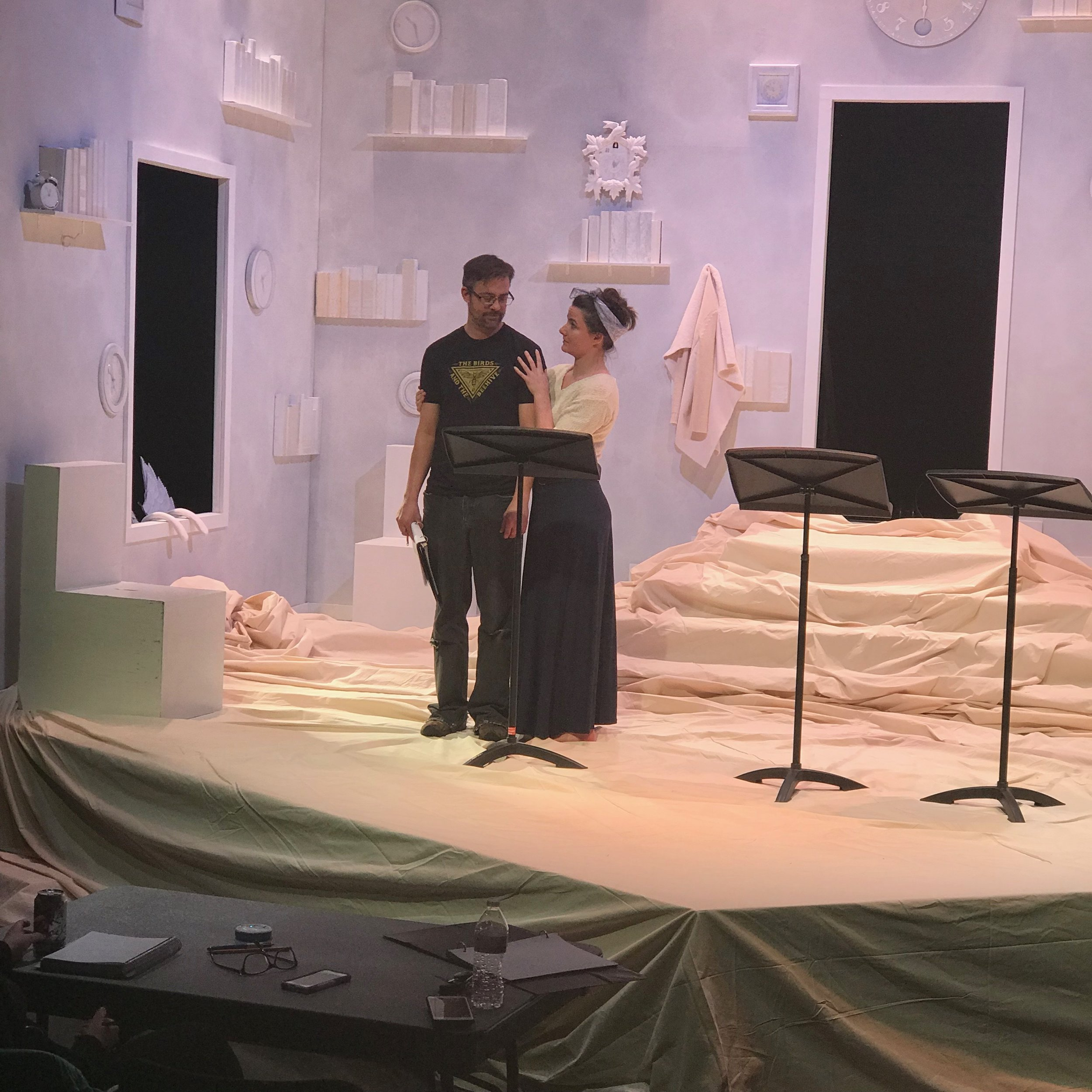 Matthew Sincell as James and Emilie Starr as Tamson in a rehearsal for the staged reading of MOUNTAIN LAW at Plan-B Theatre.