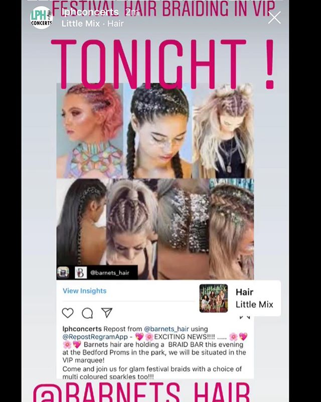 💖🌸EXCITING NEWS!!!! ..... 🌸💖🌸💖 Barnets hair are holding a  BRAID BAR this evening at the Bedford Proms in the park, we will be situated in the VIP marquee!  Come and join us for glam festival braids with a choice of multi coloured sparkles too!!! @barnets_hair @louisa @fleureast @rockbabypr @lphconcerts