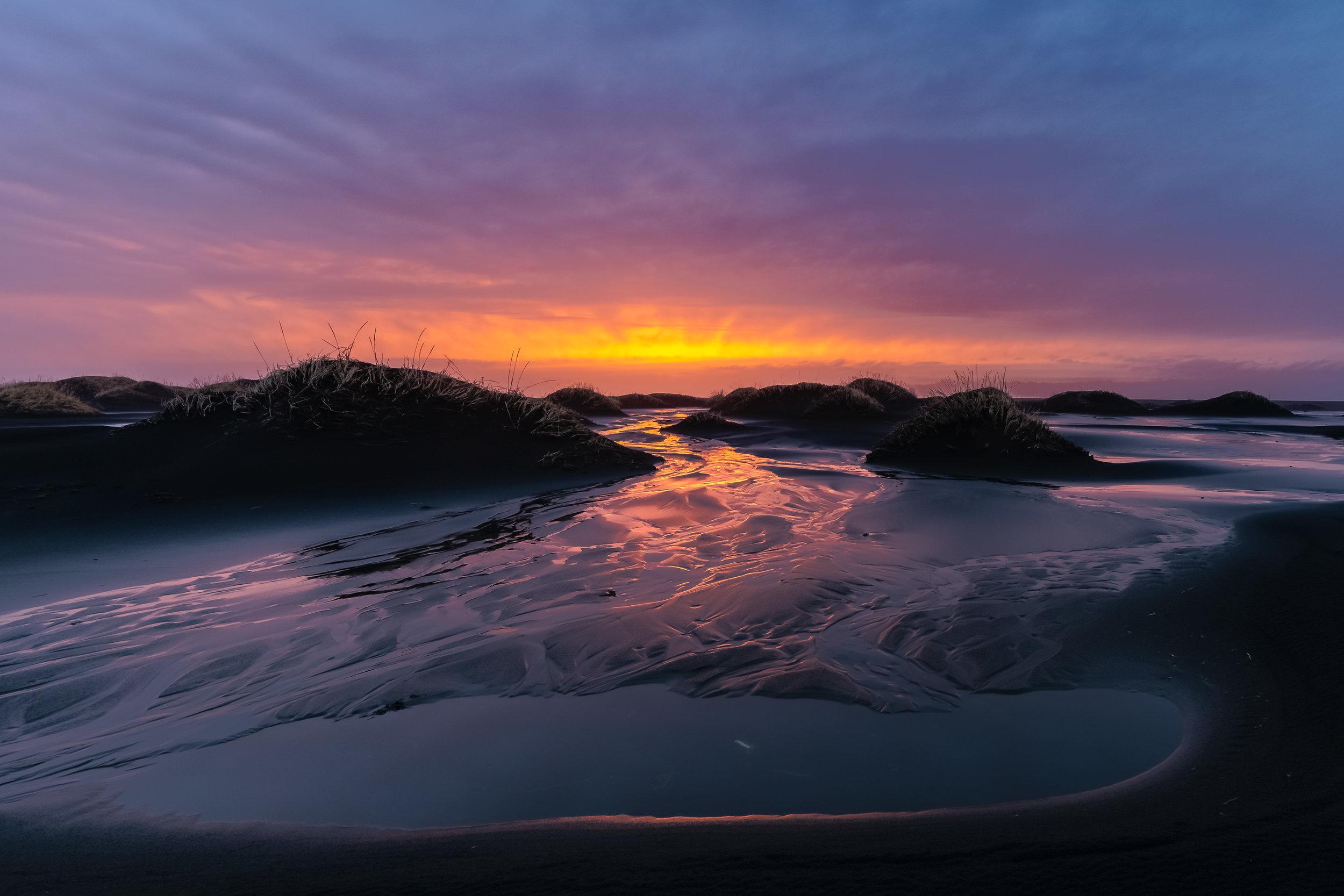 stokksnes beach sunset