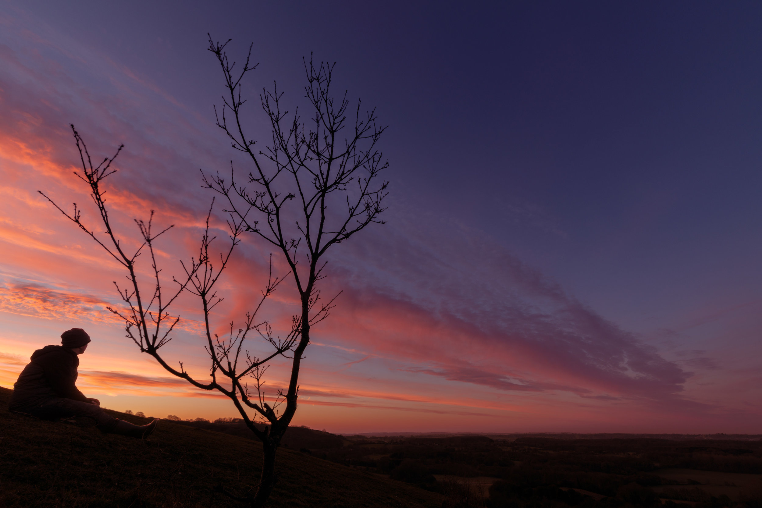 Dawn on the Downs, Kent, UK.