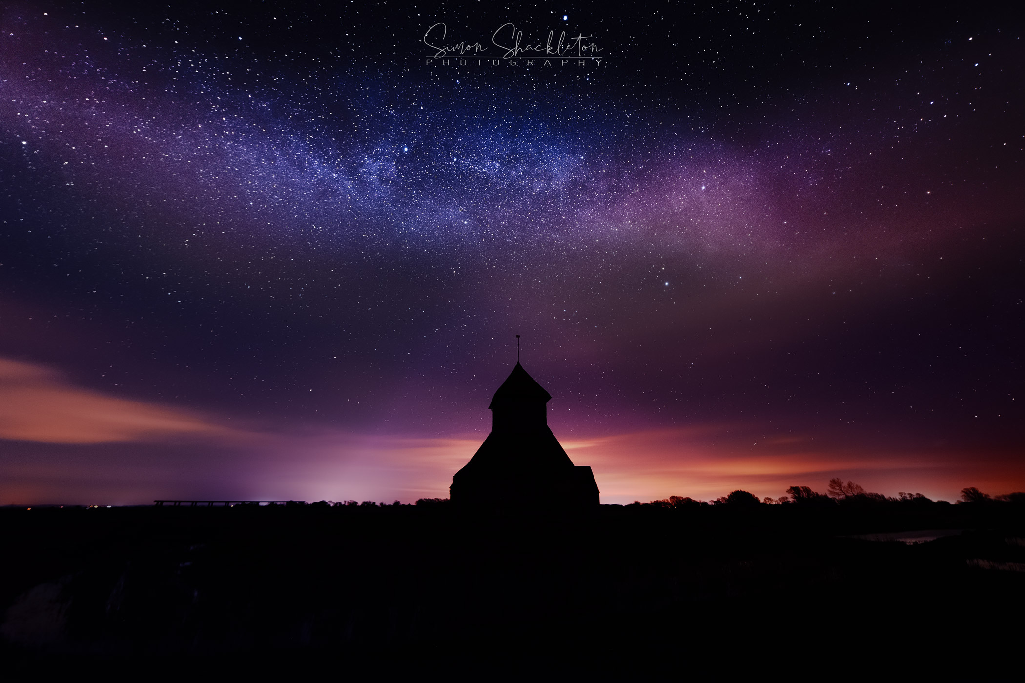 The Milky Way, above Fairfield Church in Kent.