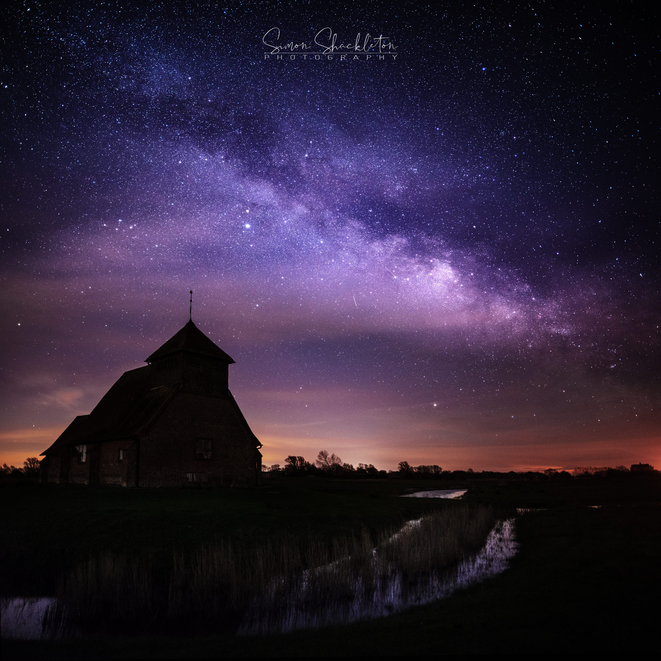 The Milky Way, above Fairfield Church in Kent (UK).