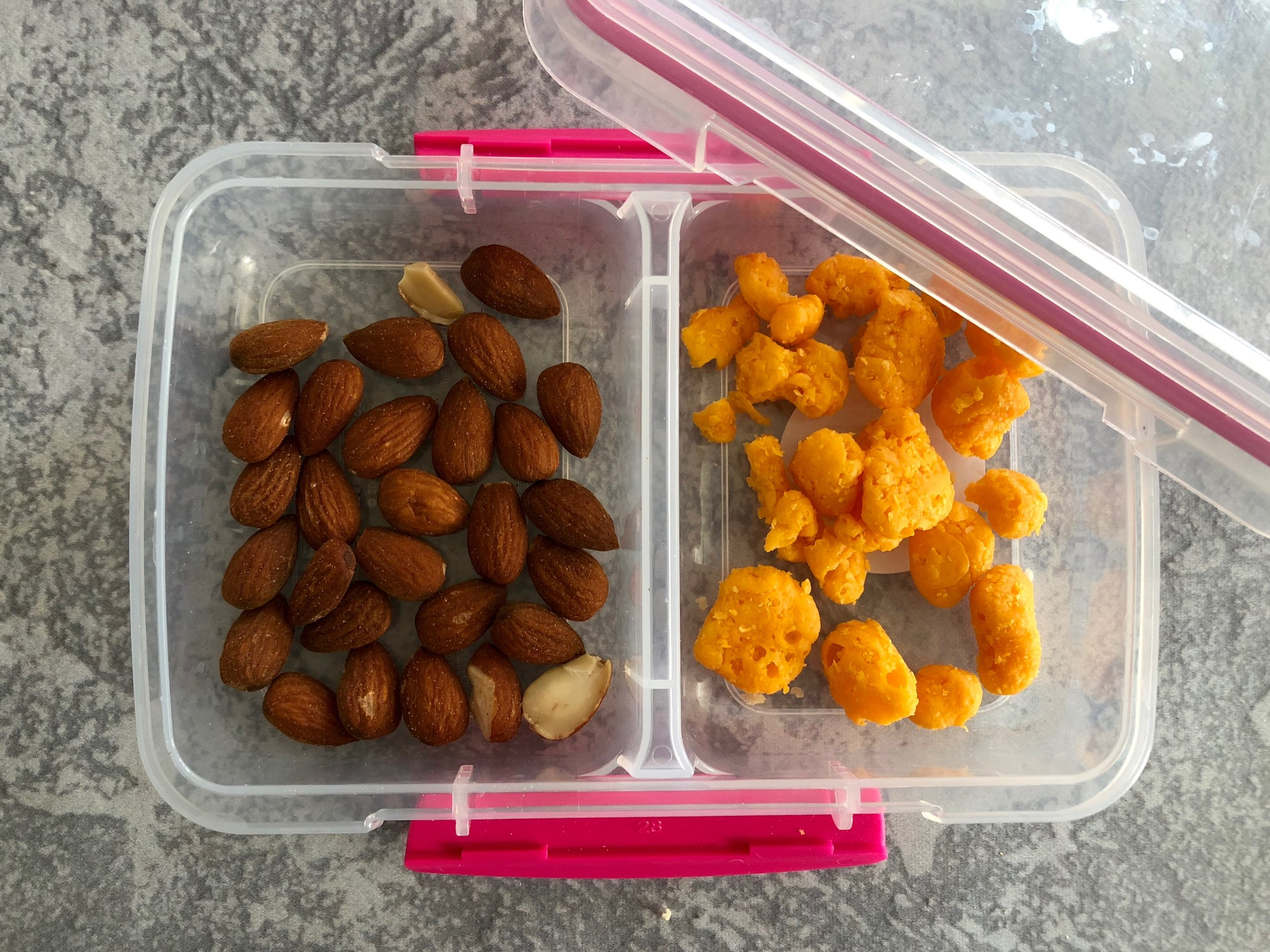 Snacks almonds nuts moon cheese keto and low carb lunch