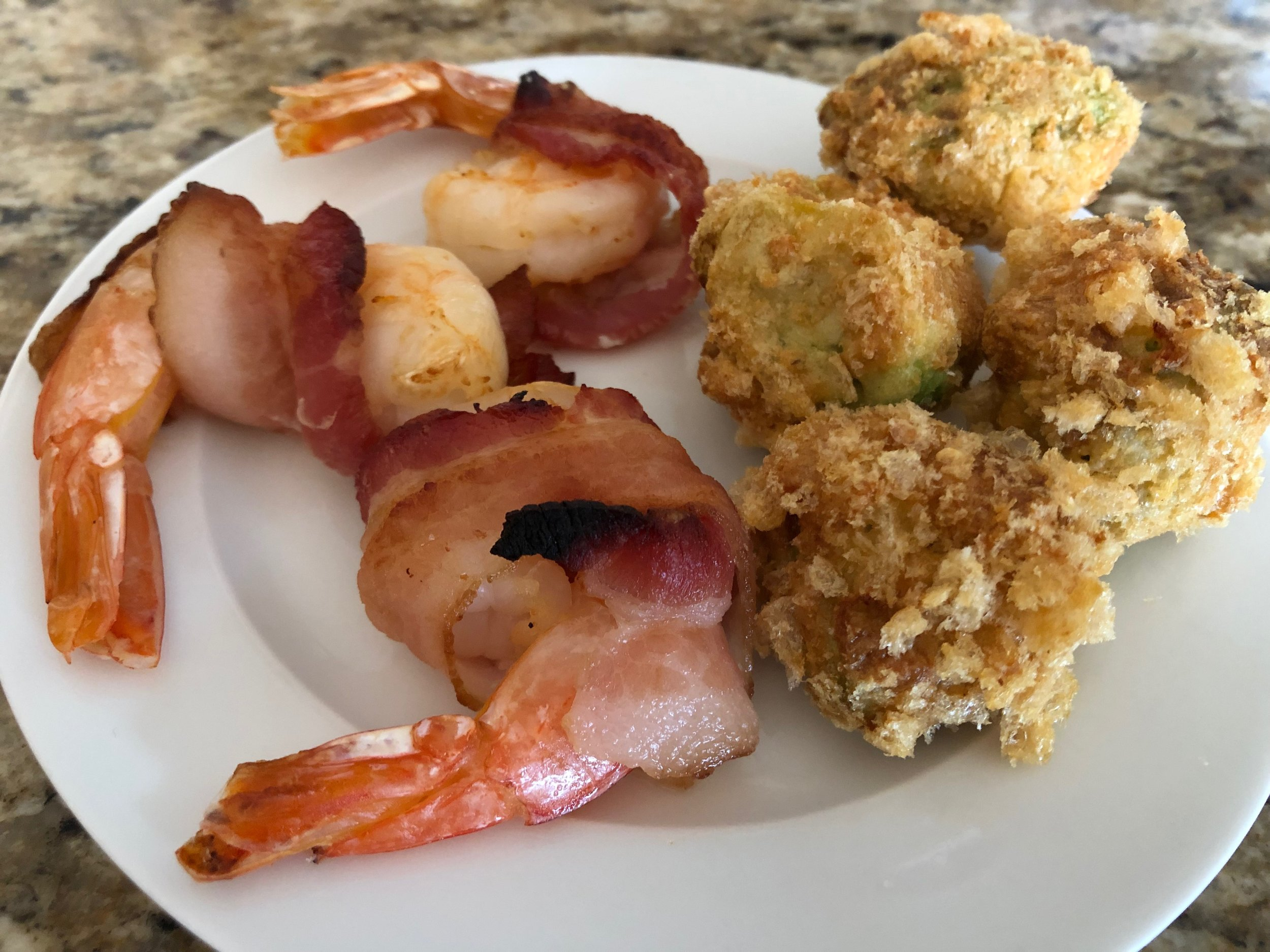 Bacon Wrapped Shrimp and Fried Avocados