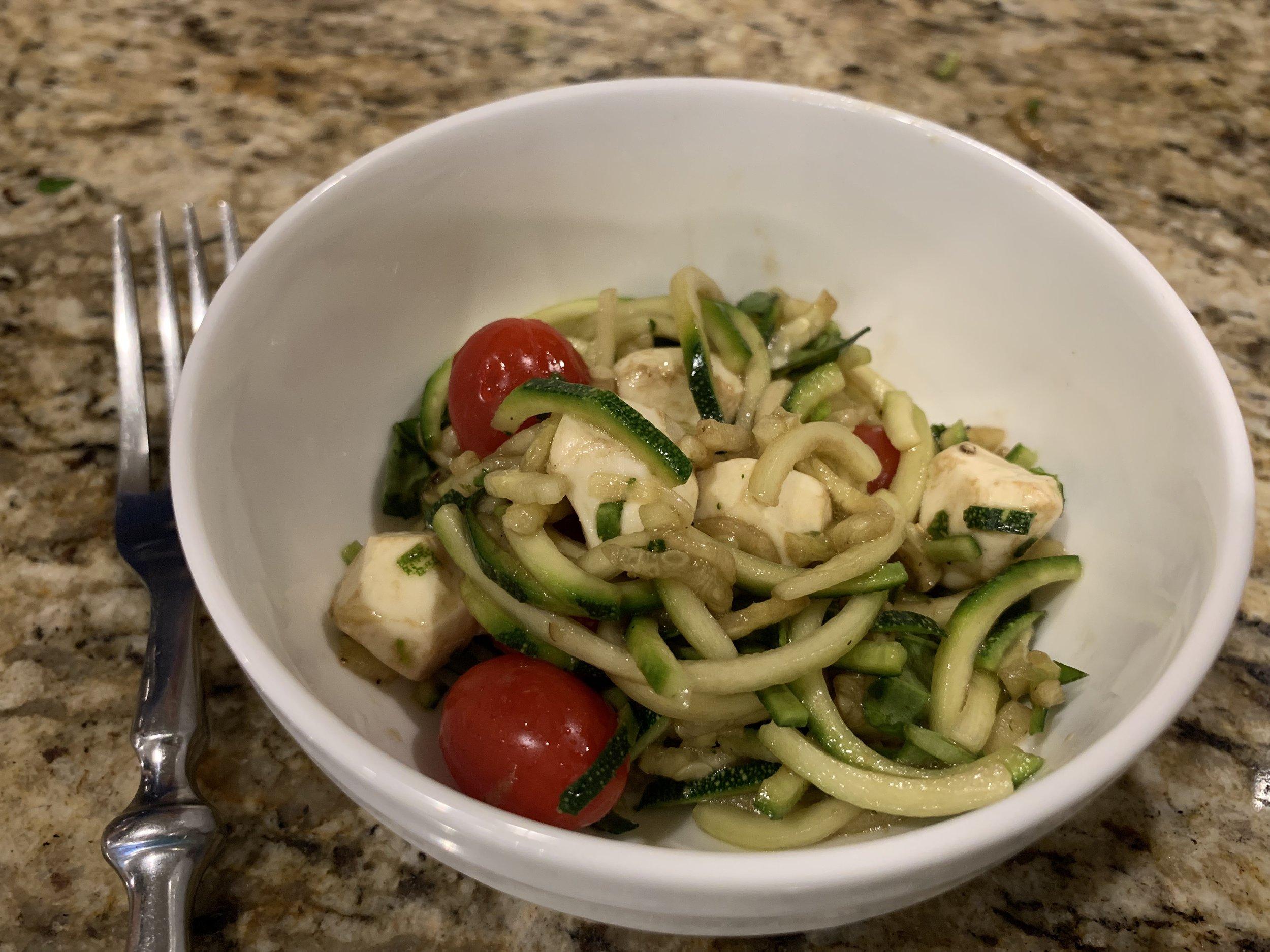 Keto caprese zoodle salad recipe