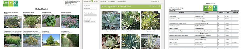 From left to right: Plantmaster.com plant thumbnails; PlantMaster.com plant search; PlantMaster.com plant list.