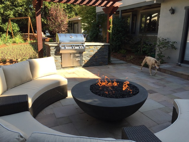 1. & 2. Stone Universe pavers & Concrete Creations Fire Bowl