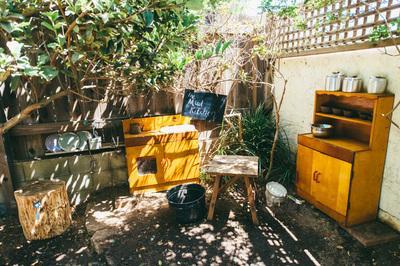Mud Kitchen at Hanna Fenichel Center for Child Development in Solana Beach, CA. Photo courtesy of Anne-Emilie Gold.