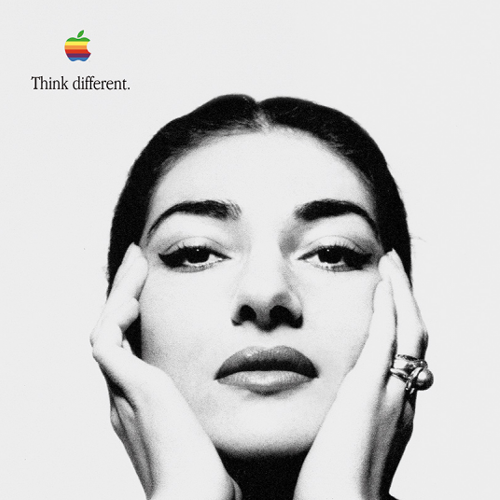 "A poster from the iconic Apple ""Think Different"" campaign."
