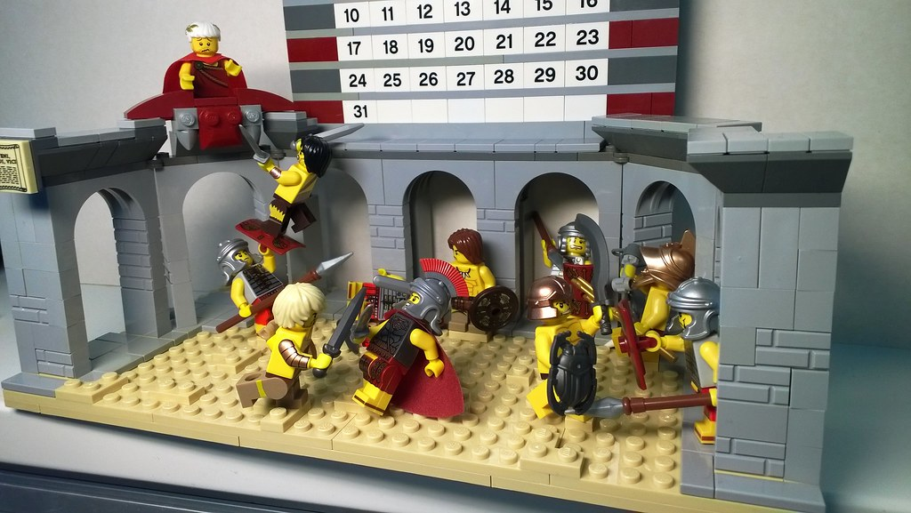 A dramatic reenactment of Spartacus fighting Romans.