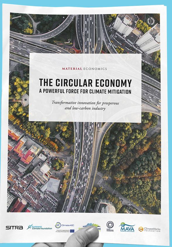 Circular economy - a powerful force for climate mitigation - Författare: SitraPublicerad: 2018This report investigates how a more circular economy can contribute to cutting CO2 emissions. It explores a broad range of opportunities for the four largest materials in terms of emissions (steel, plastics, aluminium, and cement) and two large use segments for these materials (passenger cars and buildings). The key conclusion is that a more circular economy can make deep cuts to emissions from heavy industry: in an ambitious scenario, as much as 296 million tons CO2 per year in the EU by 2050, out of 530 Mt in total – and some 3.6 billion tonnes per year globally. Making better use of the materials that already exist in the economy thus can take EU industry halfway towards net-zero emissions. Moreover, doing so often is economically attractive. Initiatives for a more circular economy therefore deserve a central place in EU climate and industrial policy.Läs rapporten >>