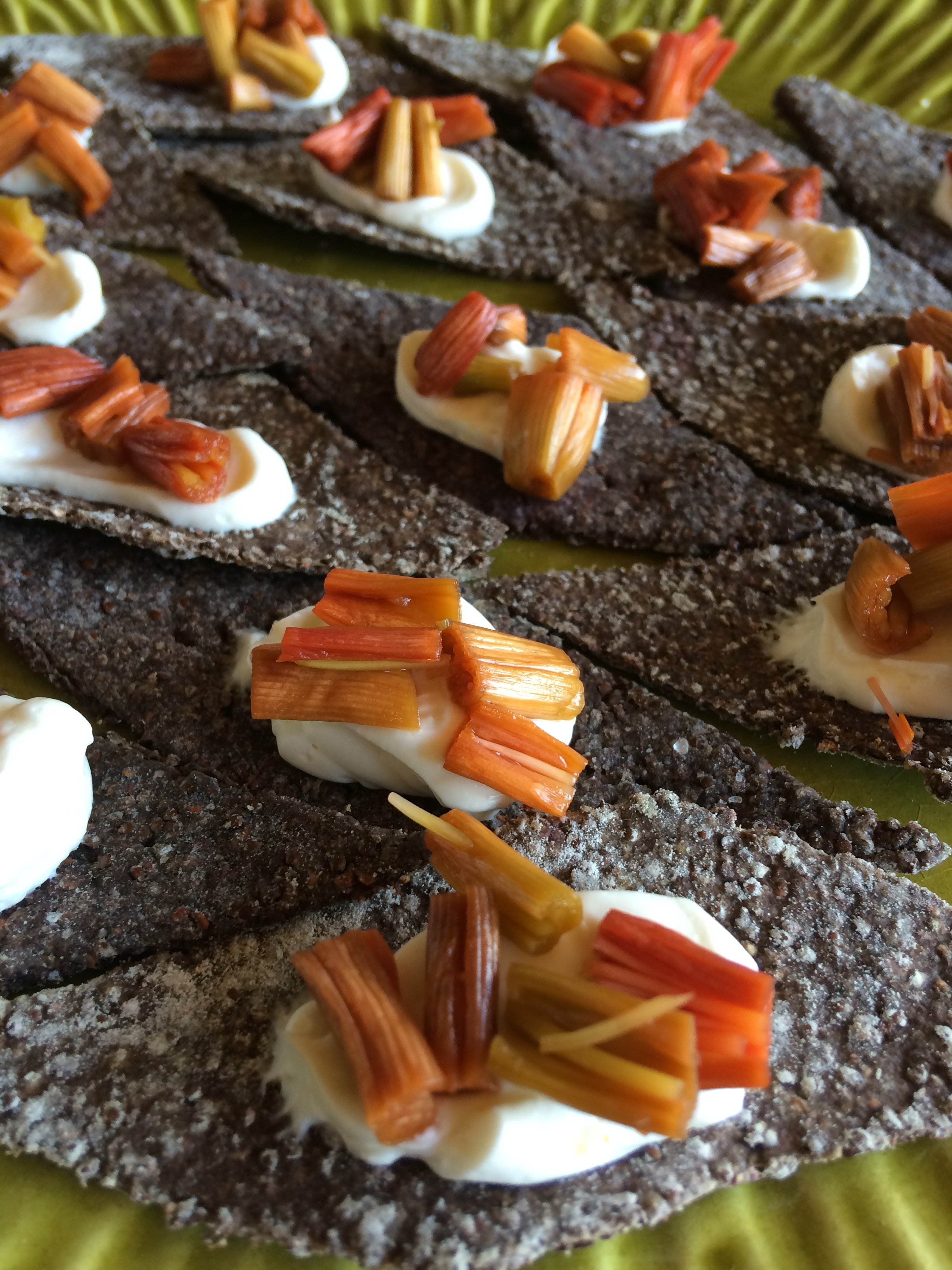 Daylily Pickles Served with Cream Cheese on Curly Dock Seed Crackers