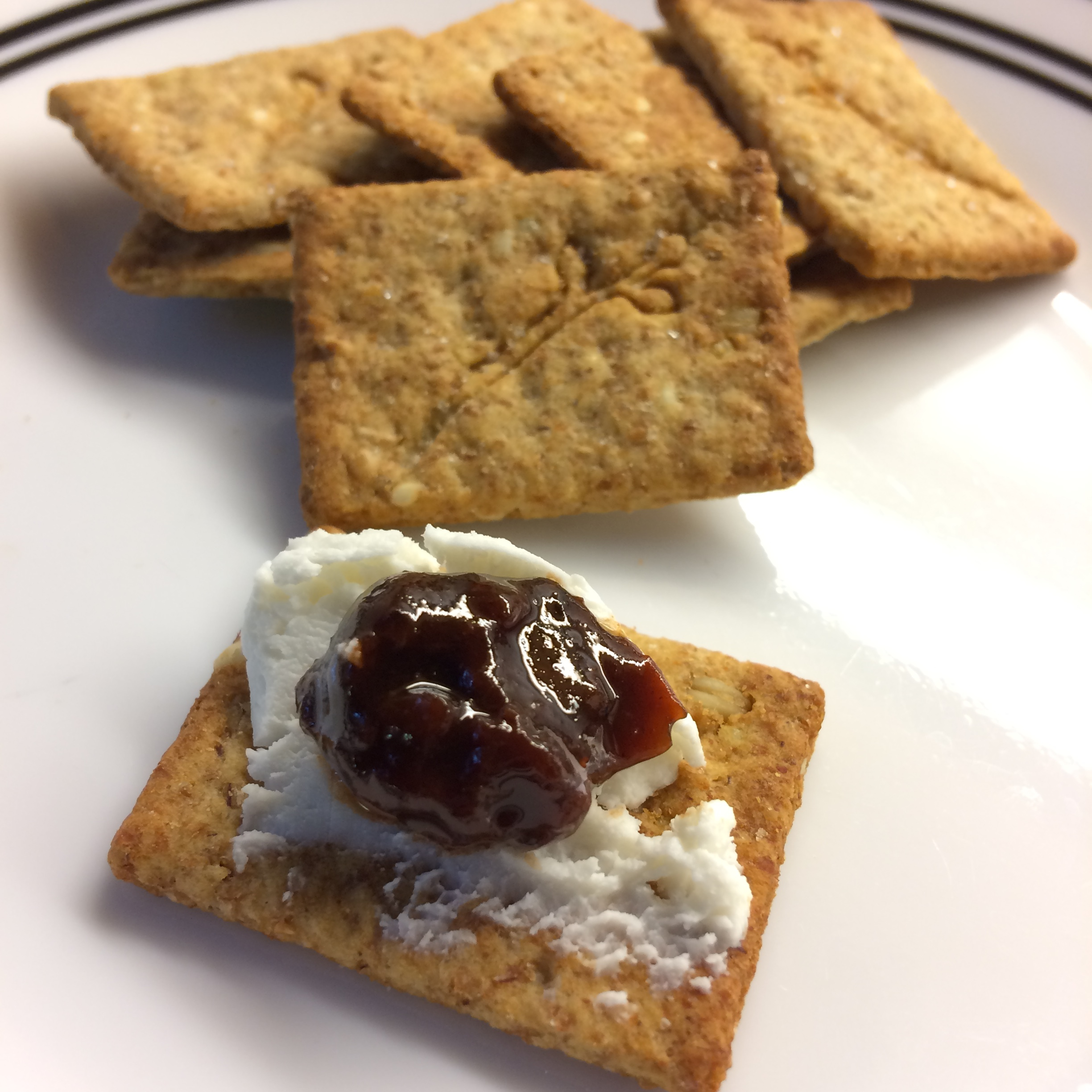 Whole Grain Crackers with Chèvre and Plum Chutney