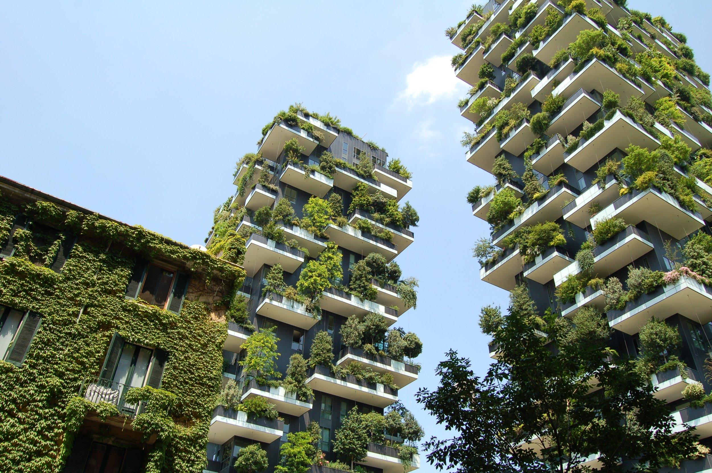 Vertical gardening in Milan, Italy.