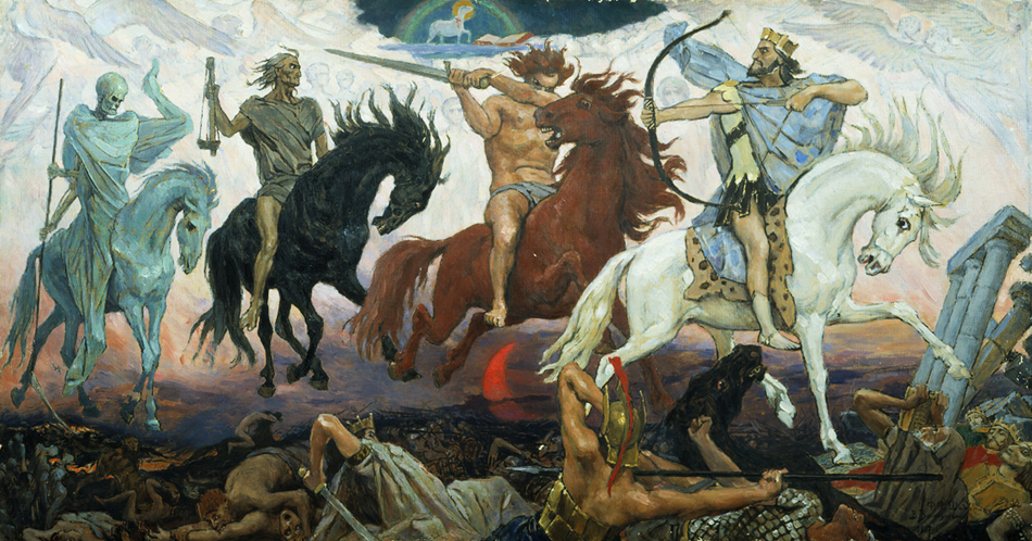 Four Horsemen of the Apocalypse , an 1887 painting by Russian artist Viktor Vasnetsov. From left to right are Death, Famine, War, and Conquest.