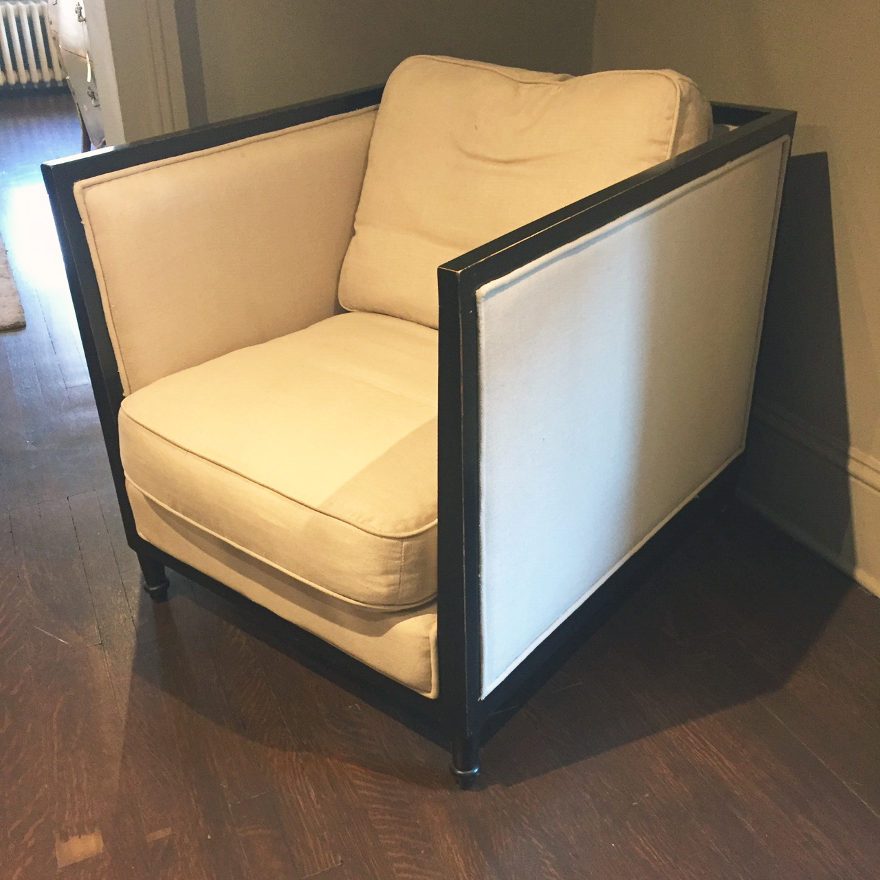 Tulon Chair  Originally $1,180  As is $900  Linen and Black Laquer with Down Cushions