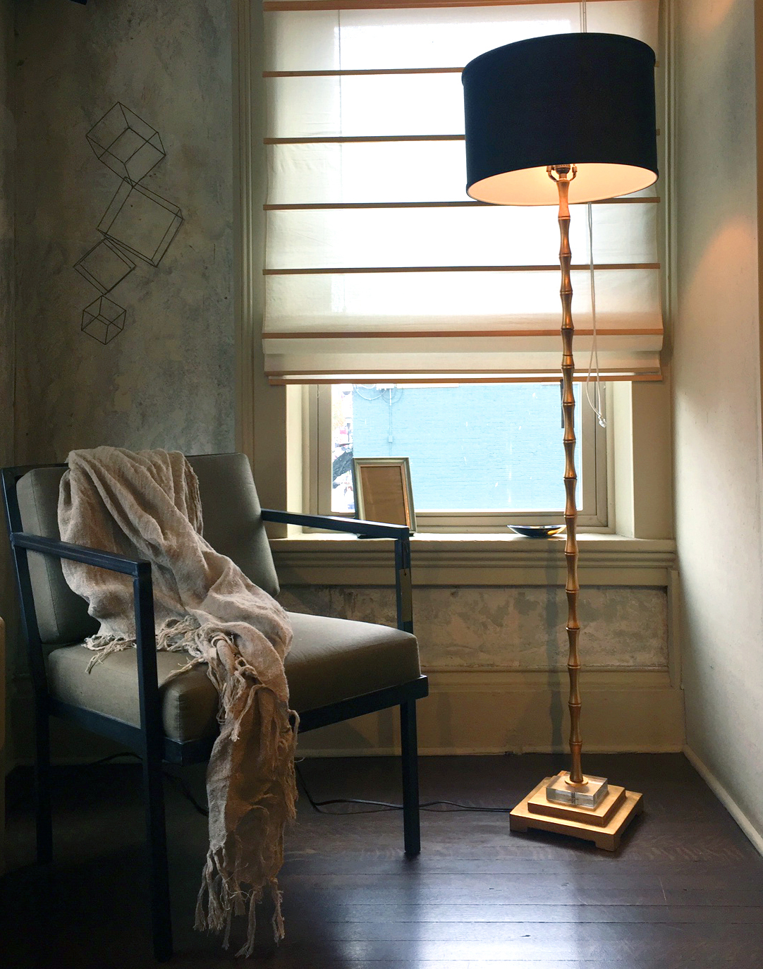 "Edgar Floor Lamp  $385   Gold Leaf and Linen 65""H Shade 10""H x 16""Dia   Healy Chair  $1,475 Linen and Steel 28""D x 22.5W x 31""H - 6 weeks Made in Maine   Peasant Throw  $88 Natural Fringe Pre-Washed Linen 50"" x 70""   Livorna Frame  $42 Silver 5 x 7 Italy/USA   Ranch Horn Oval Bowl  $22 Cow Horn Made in the Phillipines   Wire Cube Sculpture  $30 Make Your Own Art Table or Hanging."