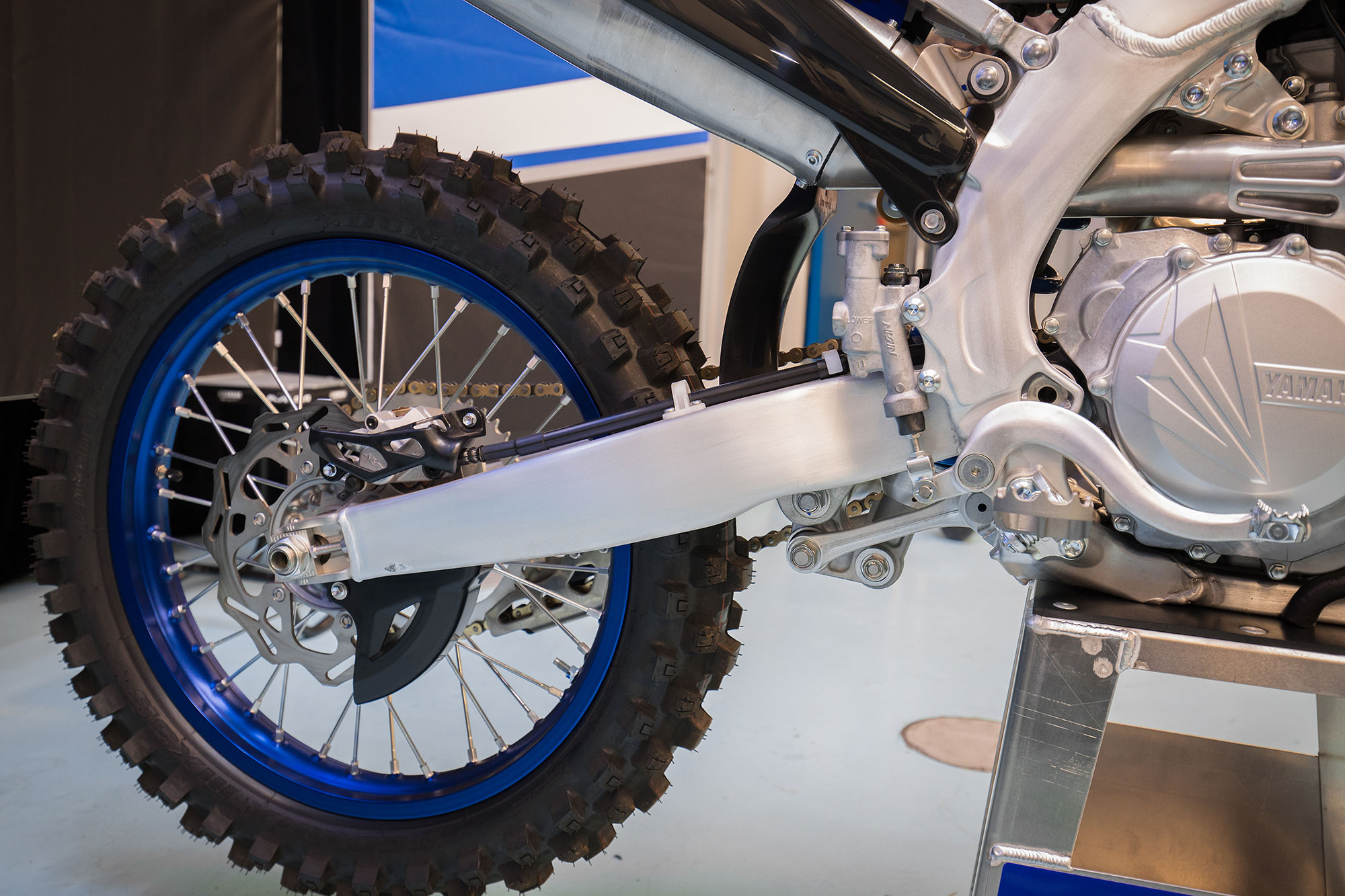 Blue wheels that are lighter come standard on the 2018 YZ450F.