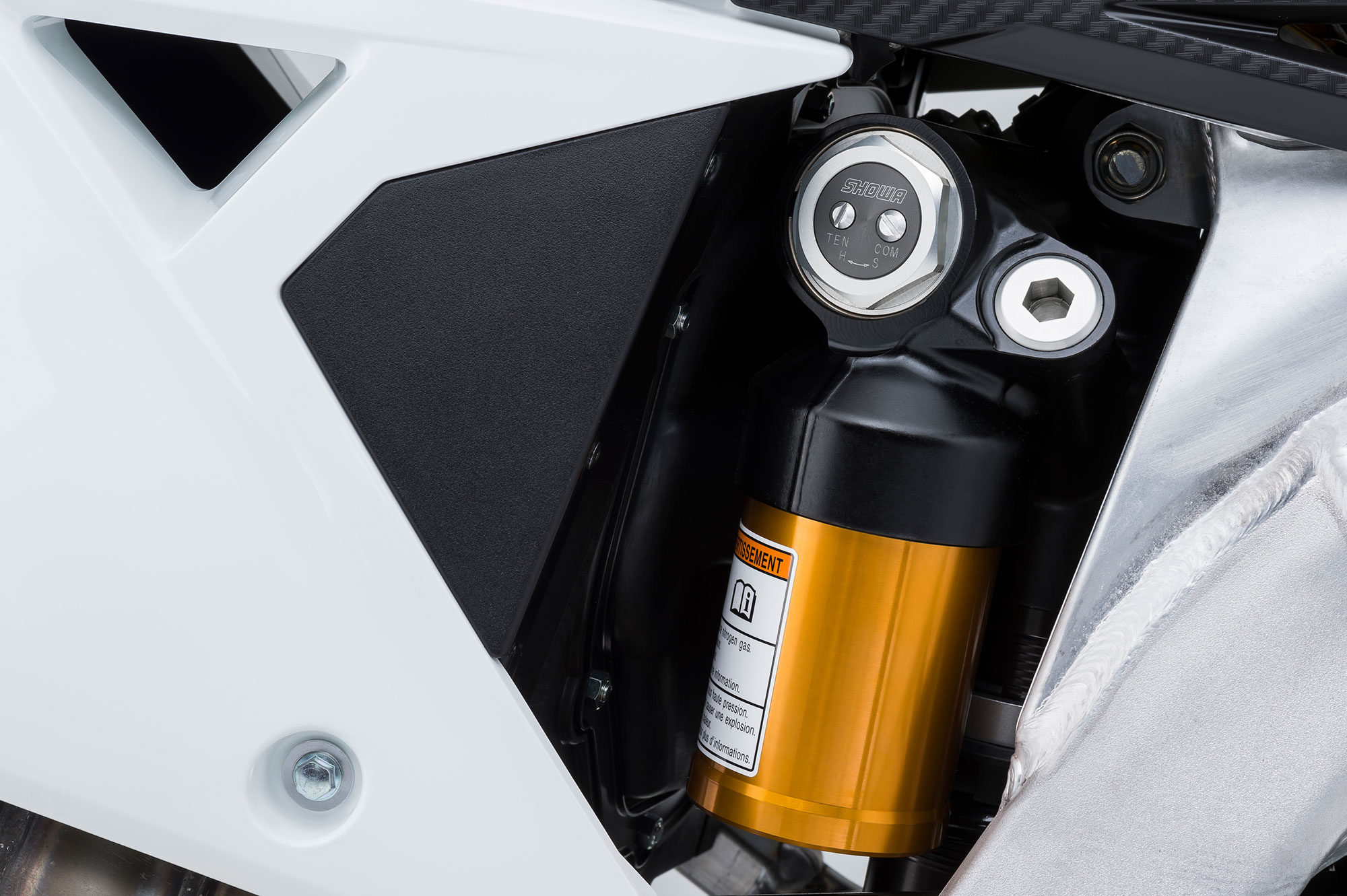 The Showa BFRC (Balance Free Rear Cushion) shock is something we have only seen on factory team's race machines. Showa says that the BFRC stabilizes the pressure balance, improves damping responsiveness and can operate under low pressure which can reduce friction.