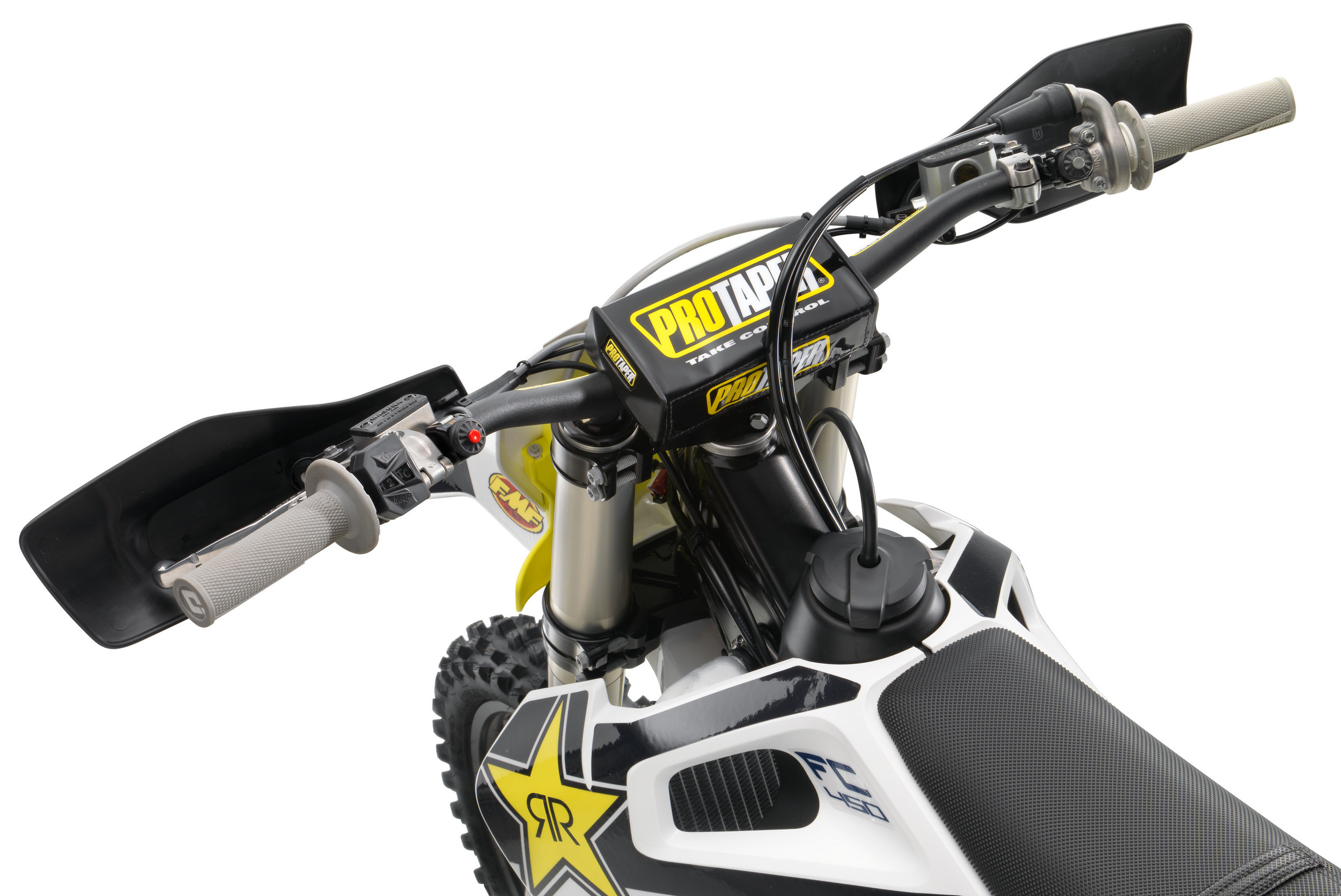 A new lower bend Pro Taper handlebar and a top mount that is stiffer.