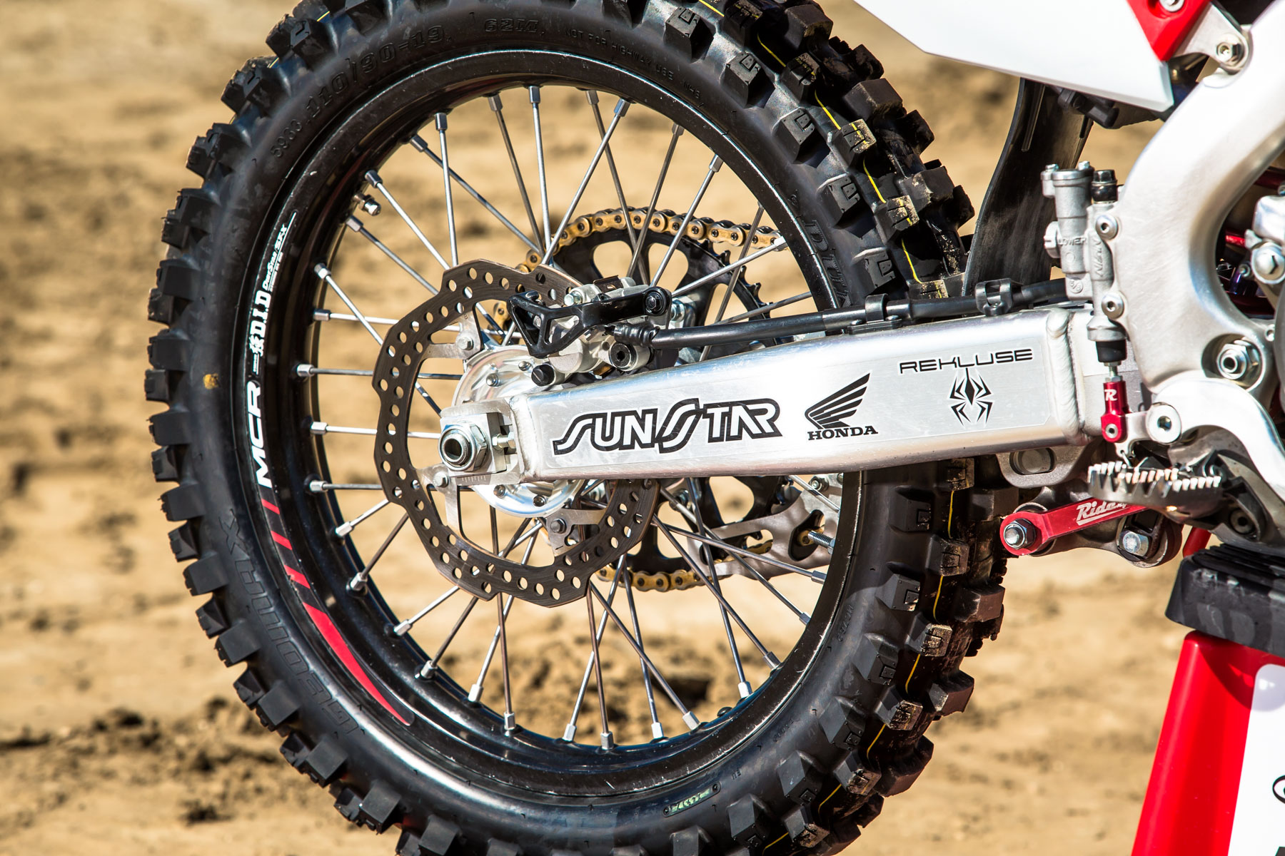 A D.I.D. DirtStar ST-X rim is laced up to a Dubya Talon Ultralight rear hub.