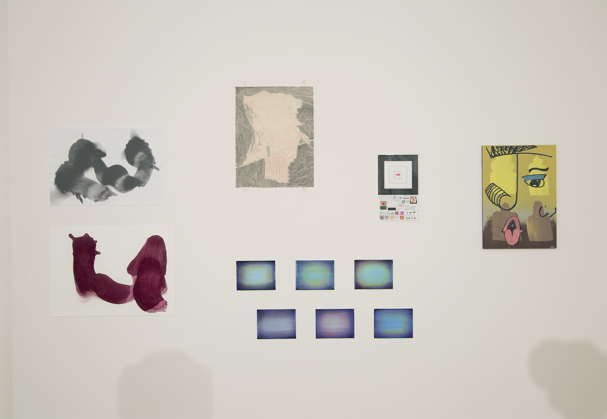 (clockwise starting with magenta and b/w piece) Richard Neal / Eric Schnell / Yuri Masnyj / Melissa Brown / Julia Münstermann (6 small works)