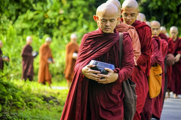 Buddhist monks with their bowl