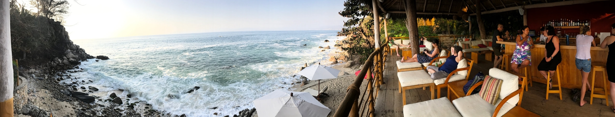 Panoramic view from the bar at Xinalani Retreat in Quimixto, Mexico. Photo by Anne Worth