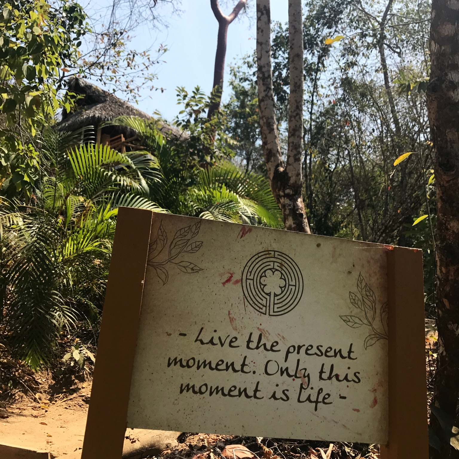 Signs around the grounds helped us stay positive when walking up the hills to our accommodations. The Small Palapa is pictured in the distance.