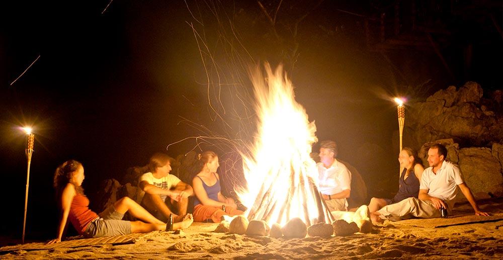 Bonfire on the beach at Xinalani