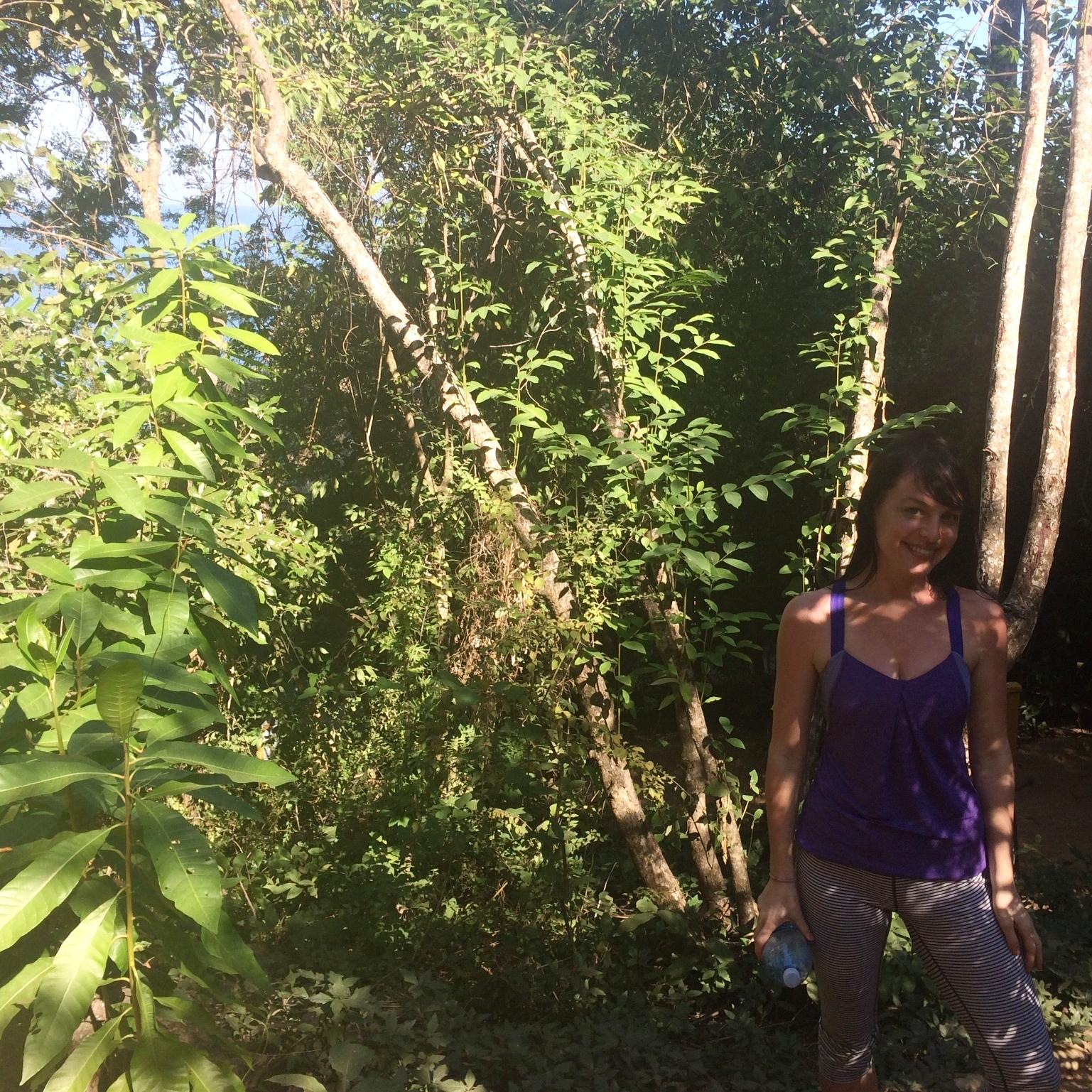 Colleen enjoying the nature walk on property at Xinalani