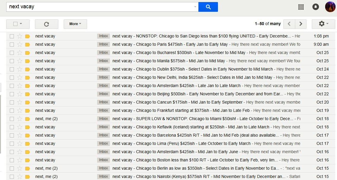 Examples of all the Next Vacay emails I've received, and this is showing only part of October's results.