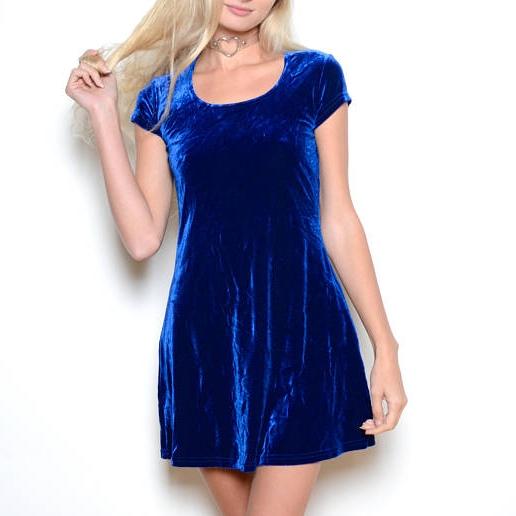 Vintage 90's Blue Velvet Mini Dress Sz M (SOLD OUT) -